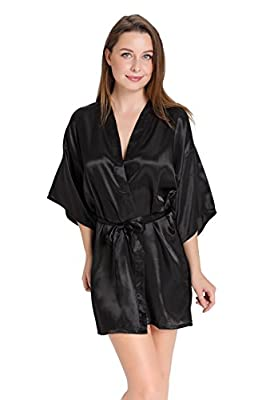 Aibrou Women's Kimono Robes Satin Pure Colour Short style with Oblique V-Neck