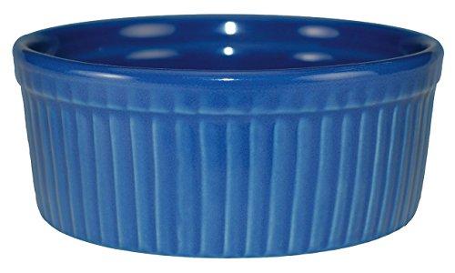 International Tableware Ceramic Fluted Ramekin, 6 oz, Light Blue (Plate Blue Light Cancun)