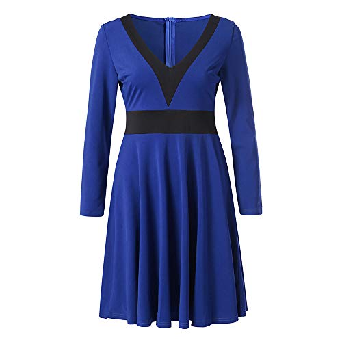 HYIRI✈ clearence!!Sexy V Neck Dress,Women Long Sleeve Patchwork A-Line Dress Elegant Dresses