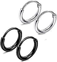 Yesallwas 2 Pair Stainless Steel Plain Circle Hinged Hoop Earrings for Men Women Silver Tone Black Tone (A)