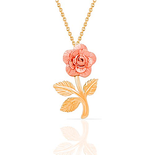 Jewel Connection Beauty and the Beast 14k Solid Yellow and Rose Gold Rose Pendant Necklace for women and girls. - Charm 14k Rose Gold