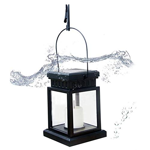 Per Newly Outdoor Solar Light Candle Light LED Vintage Courtyard Light Garden Light Waterproof Clamp Hanging Light by Per Newly