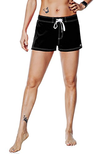 8138f44aaea42 Nonwe Women's Board Shorts Quick Dry Soild Lightweight Black 26