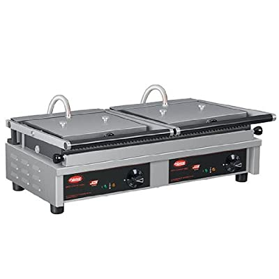 "Table Top King MCG20G 26"" Multi Contact Double Panini Sandwich Grill with Grooved Cast Iron Plates"