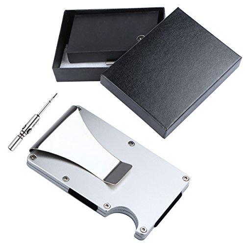 Unime Metal Wallet Credit Card Holder with RFID blocking, Aluminum Slim Wallet Front Pocket Wallet Money Clip Minimalist Wallet RFID Blocking