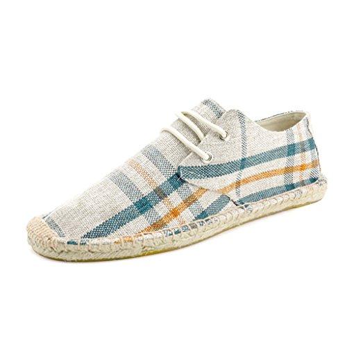 Men's Classic Canvas Slip-On Original Loafer Flat Shoes Casual Sneaker Espadrille Beige2 9.5US (Canvas Espadrilles Beige)