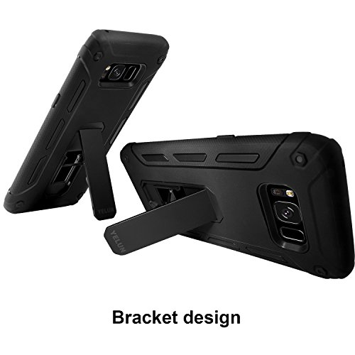Galaxy S8 Case,YELUN[Heavy Duty]Shockproof Slim Fit Dual Layer Soft TPU & Hard PC Rugged Holster Cover Full-body Protective Bumper Case with Kickstand for Samsung Galaxy S8 (Black) by YELUN (Image #1)