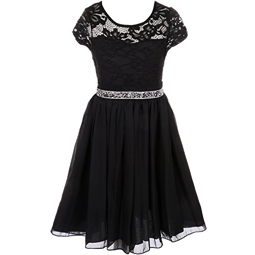 CrunchyCucumber Little Girls Cap Sleeve Floral Lace Illusion Bodice Chiffon Skirt Black - Size 4 ()
