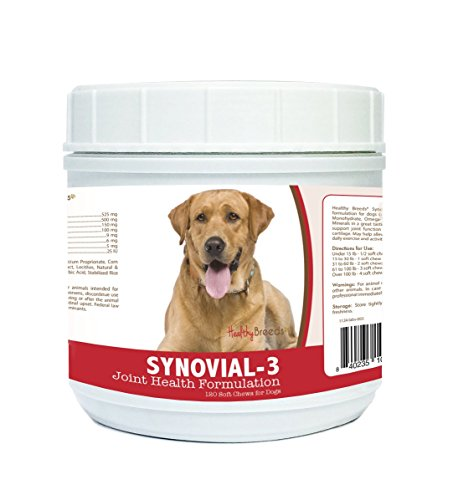 Healthy Breeds Synovial-3 Dog Hip & Joint Support Soft Chews For Labrador Retriever. Light Brown - Over 200 Breeds - Glucosamine Msm Omega & Vitamins Supplement - Cartilage Care - 120 Ct (Best Vitamins For Labradors)