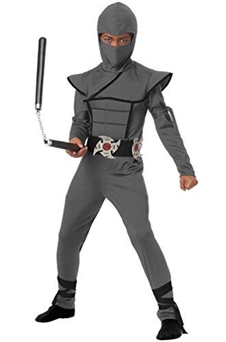 [8eighteen Japanese Samurai Stealth Ninja Boy Child Costume (Grey)] (Child Blue Stealth Ninja Costumes)