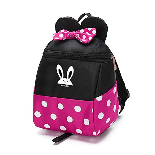 Cute Toddler Little Girls Pink Backpack with Harness Leash Small Minnie Mouse Baby Backpacks for Kids schoolbag