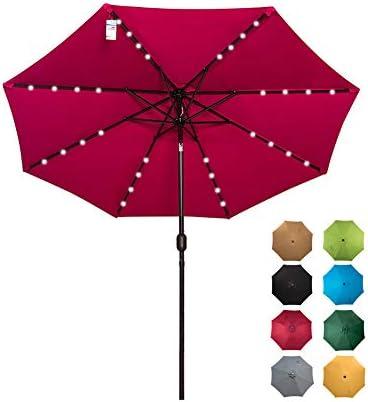 Sundale Outdoor Solar Powered 32 LED Lighted Patio Umbrella Table Market Umbrella with Crank and Push Button Tilt for Garden, Deck, Backyard, Pool, 8 Steel Ribs, 9 Feet, Burgundy
