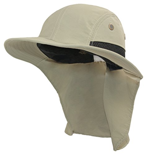 LETHMIK Fishing Neck Flap Sun Hat,Outdoor Sun Protection Hunting Hiking Wide Brim Safari Cap