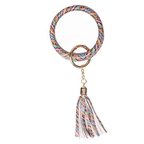 Bracelet Key Chain Ring PU Leather Tassel Wristlet Bangle Key Holder for Women Men (Stripe Leopard) ()