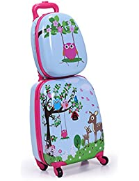 "Kids Carry On Luggage Set 2Pc 12"" 16"" Upright Hard Side Hard Shell Suitcase"