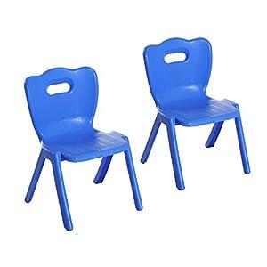 amazon com qaba plastic stackable plastic kids school chairs blue