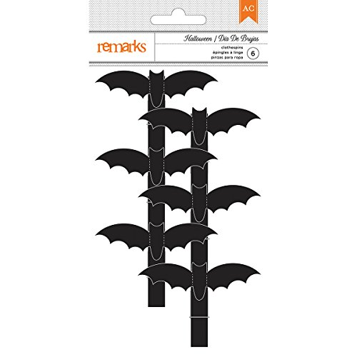 American Crafts Halloween Bat Clothespins 6 Pieces ()