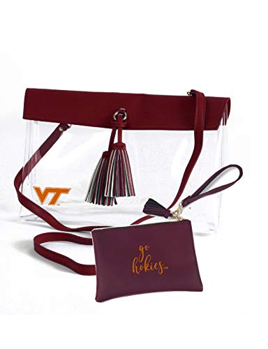 Desden Virginia Tech Hokies Clear Handbag and Wristlet Combo with Logo, Vegan Leather Trim and Tassels
