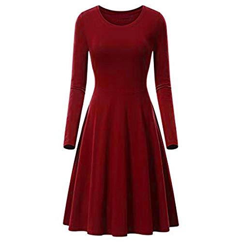Fashion Womens Dress Duseedik O-Neck Pure Color Long Sleeve Casual A-line Cotton Mini Dress