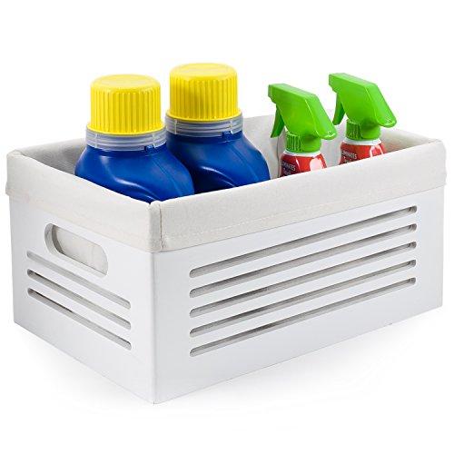 Wooden Storage Bin Container - Decorative Closet, Cabinet and Shelf Basket Organizer Lined with Machine Washable Soft Linen Fabric - White, Medium