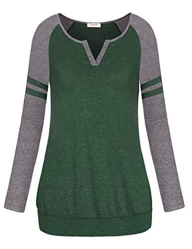 (Nomorer Sport Shirts for Women, 2018 Fashion V Neck Long Sleeve Blouse Shirts Color Block Baseball T-Shirt (Green L))
