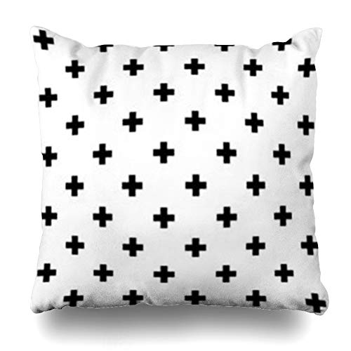 Aika Designs Throw Pillows Covers Pillowcase Scandinavian Swiss Crosses Pattern Cross Monochrome Abstract Plus Black Geometric Contemporary Home Decor Zippered 18