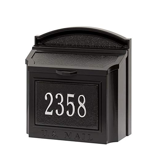 Personalized Wall Mounted Mailbox Package - 16284 Aluminum Wall Mailbox Package in Black/Silver