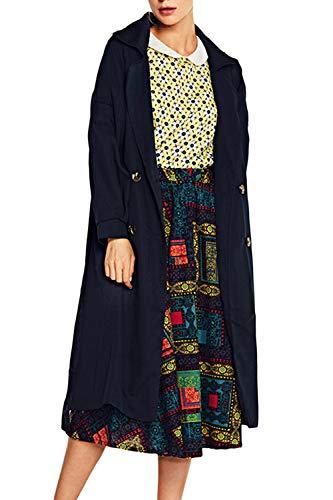 Marino Doble Botonadura Zamtapary Trenchcoat Británica Mujer Chaqueta Outwear Larga 6Saa8xEw