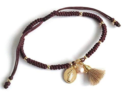 Catholic Gifts for Women Delicate Macrame Adjustable Tassel Miraculous Medal - Miraculous Medal 18k