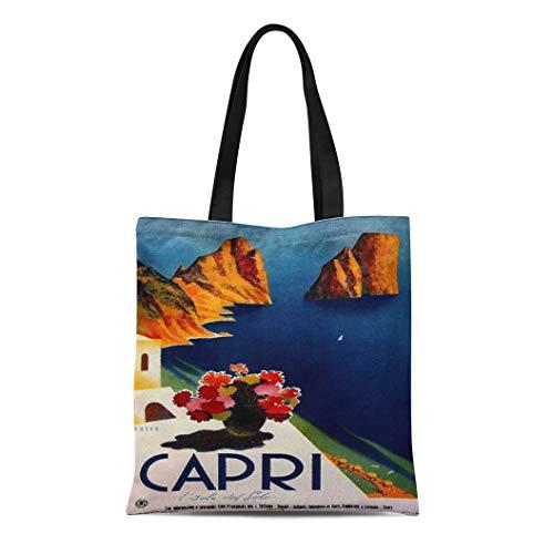 (Semtomn Cotton Line Canvas Tote Bag Blue Flower Vintage Capri French Vase Sun Sea House Reusable Handbag Shoulder Grocery Shopping Bags)