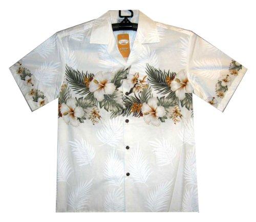 d99d68a06 Pacific Legend   Original Hawaiian Shirt   For Men   S - 4XL   Short-Sleeve    Front-Pocket   Hawaiian-Print   Flowers Palm Leaves Traditional   white