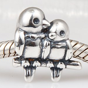 Love Birds Charms Real 925 Sterling Silver Charm Beads Fits Europen Style - Pandora Charm Lovebird