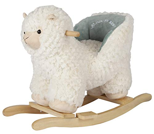 ROCK MY BABY Baby Rocking Horse Alpaca Llama with Chair, Plush Stuffed Animal Rocker, Wooden Rocking Toy Llama Animal Ride on for Toddlers Girls and Boys Ages 1 Year and up (Cream Llama for 12M+)