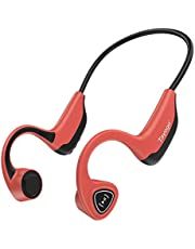 Tayogo Bone Conduction Mp3 Player Headphones, 8GB Memory Storage Holds Music Audio Books, Open Ear for Running, Sports, Fitness - Red