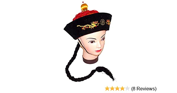 Chinese Japanese Asian Braided Pigtail Hat W// Hair Costume Accessory Adult