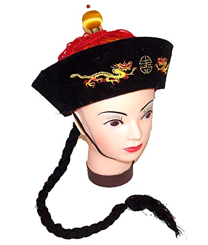 Vintage Style Chinese China Emperor Hat with Braided Black Pony Tail]()