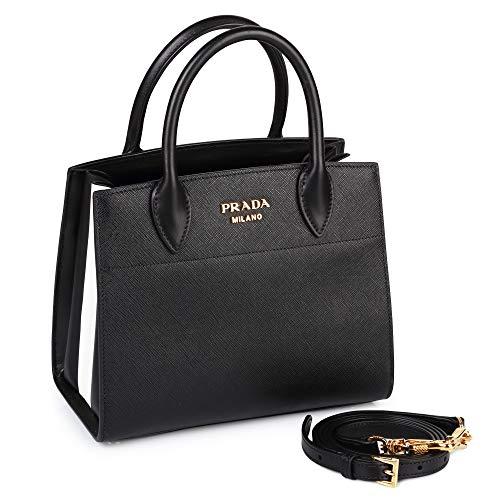PRADA Bags Cross Body Shoulder Tote Handbags Black Saffiano Leather 100% (Authentic Prada Leather Handbag)