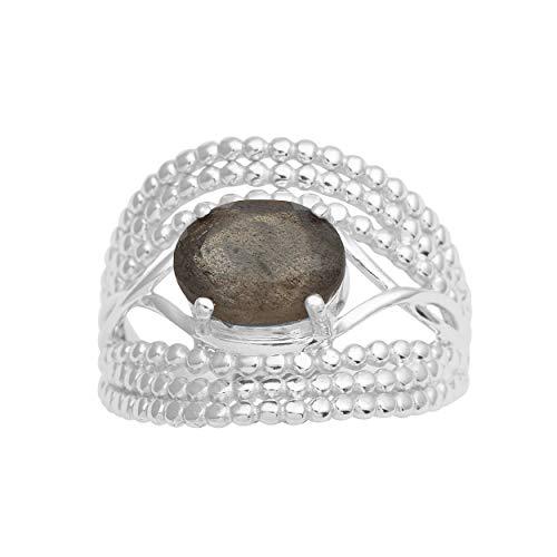Labradorite - Anillo de boda de plata de ley 925 ovalado para mujer Blanco