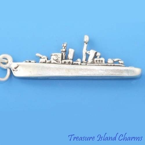 Charm - Sterling Silver - Jewelry - Pendant - Military Navy Ship Destroyer Warship
