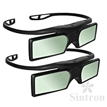 [Sintron] 2X Universal 3D RF Active Shutter Glasses Bluetooth Eyewear Glasses for 2012~2016 Panasonic & Samsung & Sony 3D TV , LG/Sharp/3D TV (2 Pairs) , Black , 27g , item in US