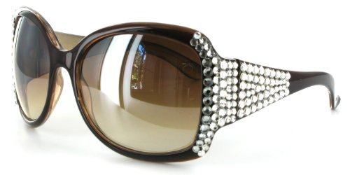 SGY030 Fashion Sunglasses from LZ New York with Hand-Inlaid, Geunine Swarovski Crystals and Large Lenses for Glamorous and Stylish Women Brown w/ Clear - Eyewear Swarovski Crystal