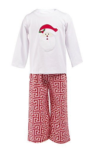 Greek Outfits For Boys (Babeeni Boy Outfit Set- Long Sleeves Top featured with an Appliqued Santa Claus and Red Greek Key Patterns Pants (5Y))