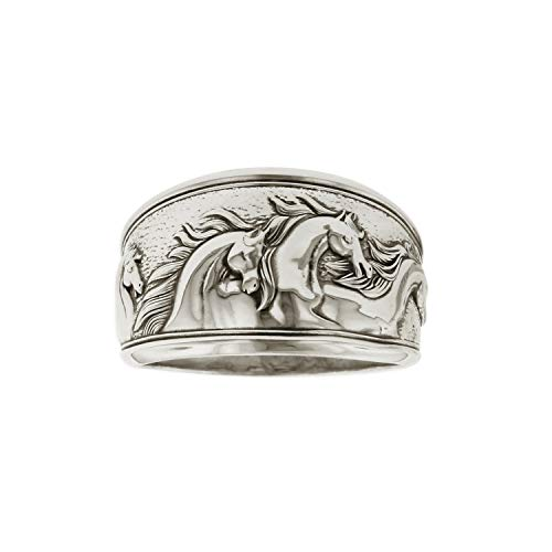 Kabana Horse Ring Sterling Silver Antiqued Wide Taperd Band Size 7 ()