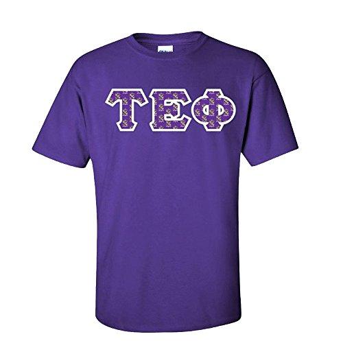 (Greekgear Tau Epsilon Phi Fraternity Crest Twill Letter Tee Large Purple)