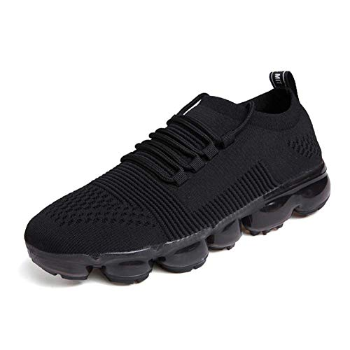 Exclusive Shoebox Mens All Air Cushion Flyknit Breathable Sport Running Shoes Athletic Gym Walking Casual Sneakers Black