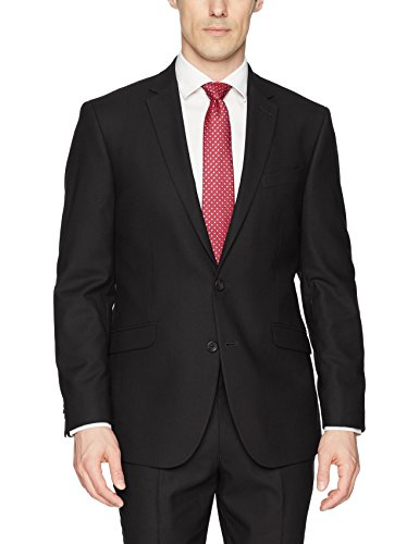 Kenneth Cole REACTION Men's Techni-Cole Stretch Slim Fit Suit Separate Blazer (Blazer, Pant, and Vest), Black, 46 - Suit Plain Black