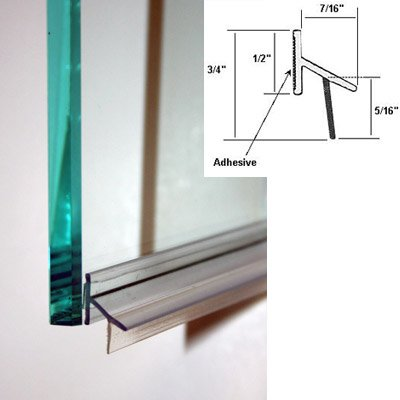Clear Polycarbonate Drip Rail and Sweep Combination w/VHB Tape for Frameless Shower Doors -