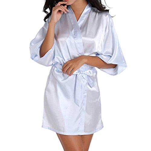 Leggera Azzurro Sposa Da Donna Vestaglie Pigiameria Estiva Da Vestaglia Maniche Mezze Kimono 8wqRSn