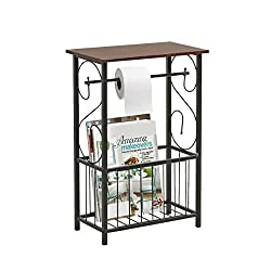 Gramercy Bathroom Table and Stand with Toilet Paper Roll-Bar Holder and Storage Rack - Black Metal Frame with Scroll Design, Walnut Color Wood Top - Ideal to Keep Essential Toiletries at Easy Reach