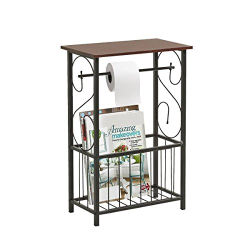 Gramercy Bathroom Table and Stand with Toilet Paper Roll-Bar Holder and Storage Rack - Black Metal Frame with Scroll Design, Walnut Color Wood Top - Ideal to Keep Essential Toiletries (Walnut Bathroom)